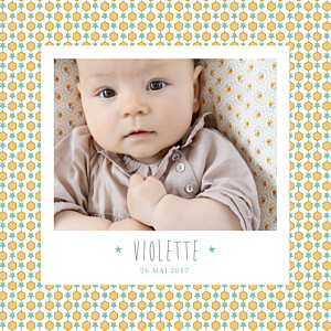 Faire-part de naissance polaroid capri photo moutarde