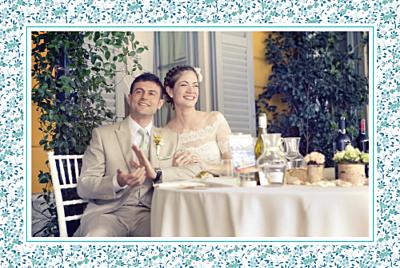 Carte de remerciement mariage Simplement liberty bleu finition