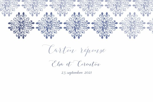 Carton réponse mariage Grâce blanc bleu