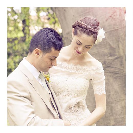 Carte de remerciement mariage Grand souvenir 6 photos blanc