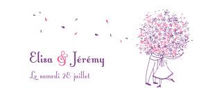 Etiquette de mariage violet bouquet lilas