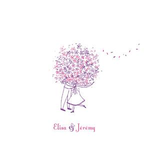 Faire-part de mariage violet grand bouquet lilas