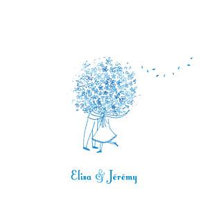 Faire-part de mariage automne grand bouquet bleu