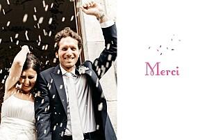 Carte de remerciement mariage violet bouquet paysage lilas