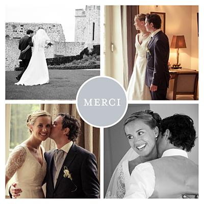 Carte de remerciement mariage Petit classique 4 photos gris finition