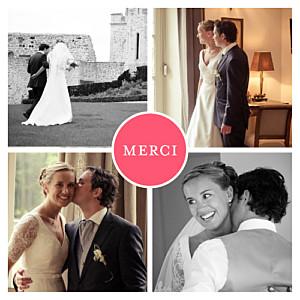 Carte de remerciement mariage rouge chic 4 photos grenadine