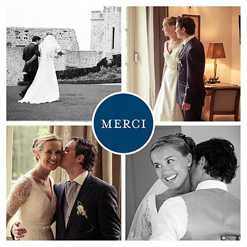 Carte de remerciement mariage Chic 4 photos bleu marine