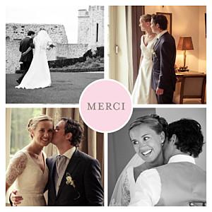 Carte de remerciement mariage rose chic 4 photos rose pâle
