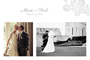 Carte de remerciement mariage mr & mrs clynk  idylle 2 photos gris