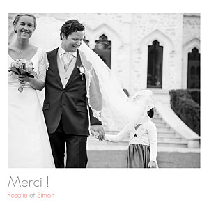 Carte de remerciement mariage marianne fournigault moderne 2 photos blanc