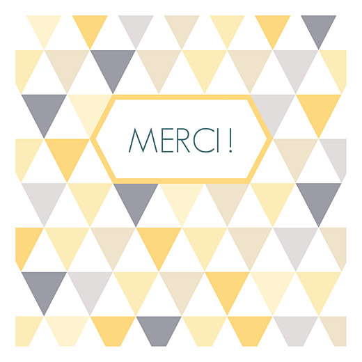 Carte de remerciement Merci triangles photo jaune taupe