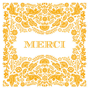 Carte de remerciement fleur merci papel picado orange
