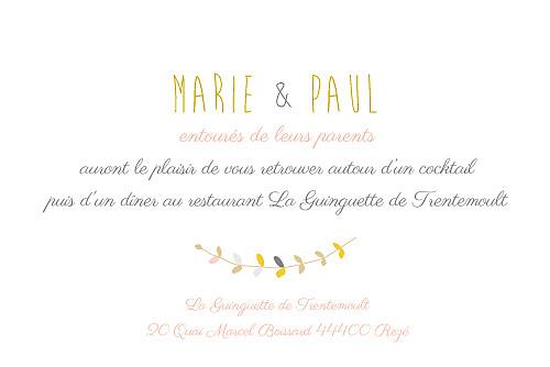 Carton d'invitation mariage Tandem rose ocre