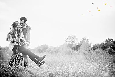 Carte de remerciement mariage Tandem photo rose ocre finition