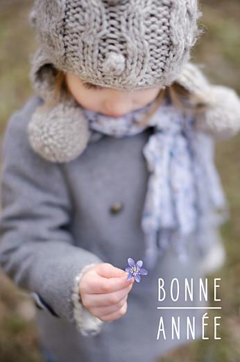 Carte de voeux Bonne année (petit portrait) blanc
