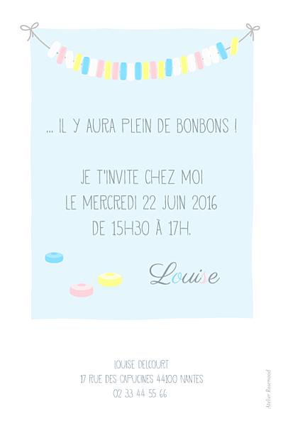 Carte d'anniversaire Collier de bonbons bleu finition