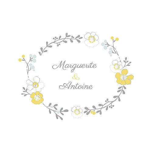 Faire-part de mariage Couronne champêtre blanc ocre