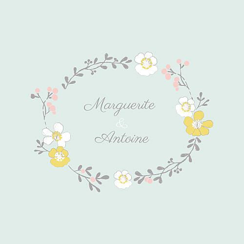 Faire-part de mariage Couronne champêtre (4 pages) menthe
