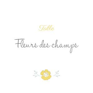 Marque-table mariage jaune couronne champêtre blanc ocre