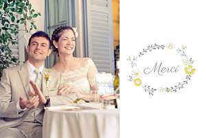Carte de remerciement mariage mr & mrs clynk  couronne champêtre blanc ocre