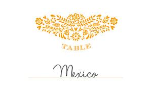 Marque-table mariage jaune papel picado soleil
