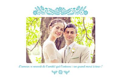 Carte de remerciement mariage Papel picado (paysage) turquoise finition