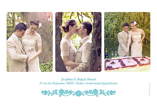 Carte de remerciement mariage Papel picado (paysage) turquoise - Page 2