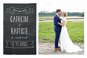 Save the date gris ardoise noir