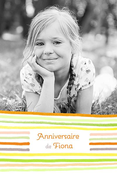 Carte d'anniversaire Dessin lignes orange finition