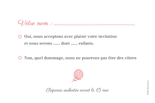 Carton réponse mariage Idylle corail - Page 2
