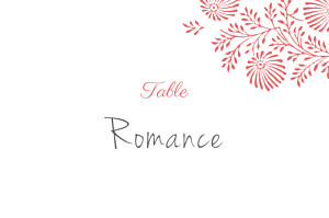 Marque-table mariage rouge idylle corail