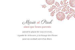 Carton d'invitation mariage rouge idylle (paysage) corail