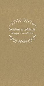 Menu de mariage marron poème kraft