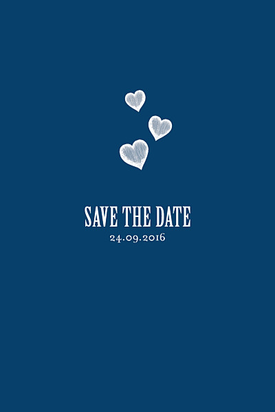 Save the Date Coeurs bleu marine finition