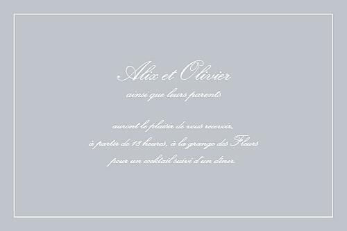 Carton d'invitation mariage Chic liseré gris clair