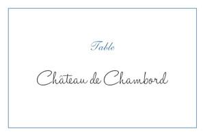 Marque-table mariage classique chic liseré bleu