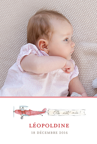 Faire-part de naissance Avion (version fille) rouge finition