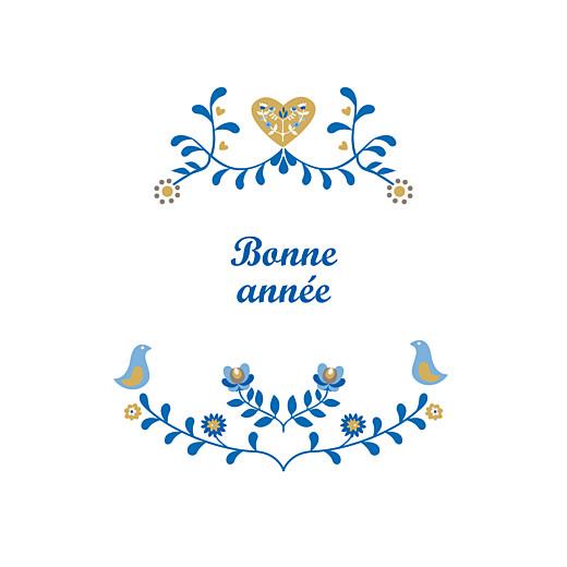 Carte de voeux Folk photo bleu & ocre