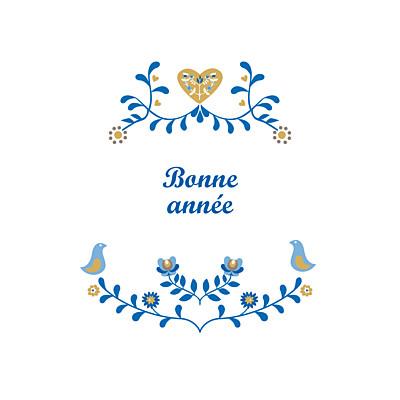 Carte de voeux Folk photo bleu & ocre finition