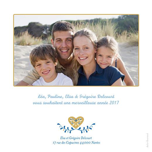 Carte de voeux Folk photo bleu & ocre - Page 2