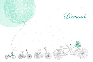 Faire-part de naissance jouets à bicyclette (3 enfants) photos vert