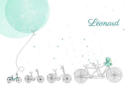 Faire-part de naissance À bicyclette (3 enfants) photos vert