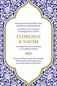 Faire-part de mariage orientale byzance bleu
