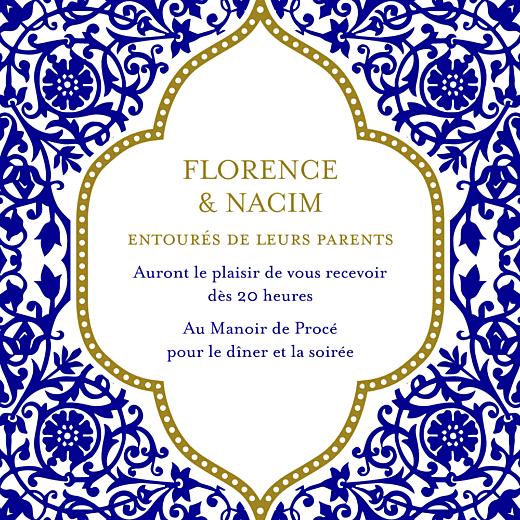 Carton d'invitation mariage Byzance bleu