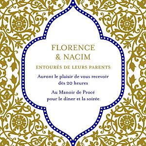 Carton d'invitation mariage Byzance doré