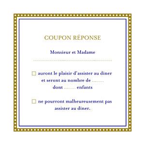 Carton réponse mariage marron byzance doré