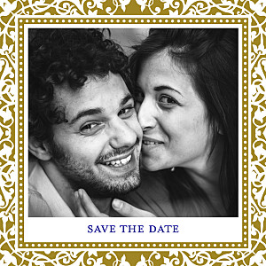 Save the date jaune byzance photo doré