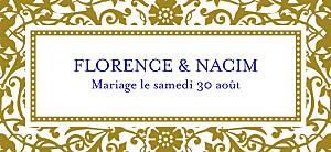 Etiquette de mariage marron byzance doré