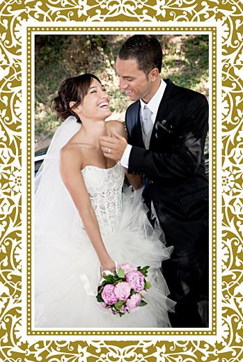 Carte de remerciement mariage Byzance photo doré