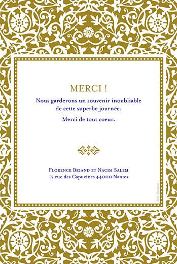 Carte de remerciement mariage Byzance photo doré - Page 2